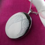 Silver Locket with Angel Wings, personalised engraved ref. SAWL